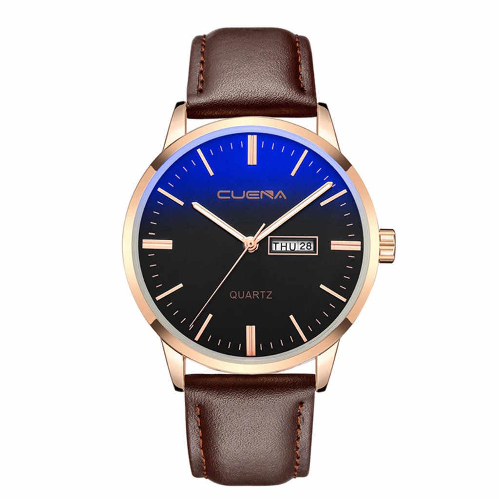 高級ファッションフェイクレザーメンズブルーレイガラスの腕時計カレンダー zegarek damski 壁時計モダンなデザイン