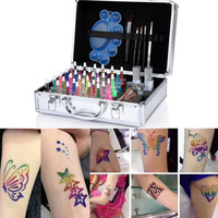 1 Set Shimmer Glitter 38 Colors Powder Henna Tattoo Kit Temporary Beauty Art Makeup Stencil Brush Glue Diamond Farbe Body Paint
