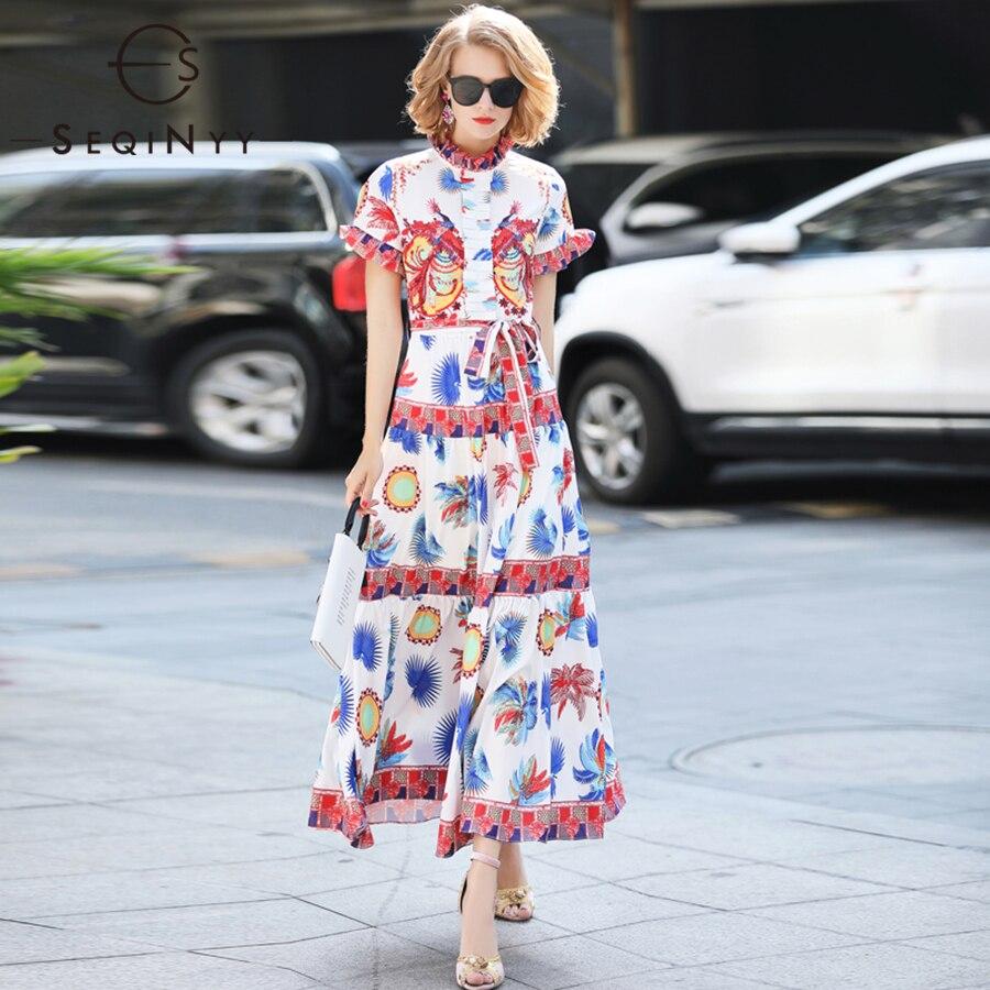 SEQINYY Elegant Long Dress Summer 2018 Women