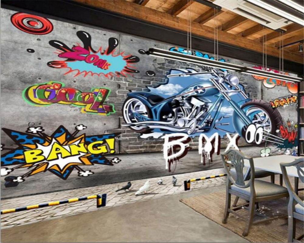 Beibehang custom wallpaper home decoration graffiti motorcycle photo wallpaper hotel design living room background 3d wallpaper in wallpapers from home