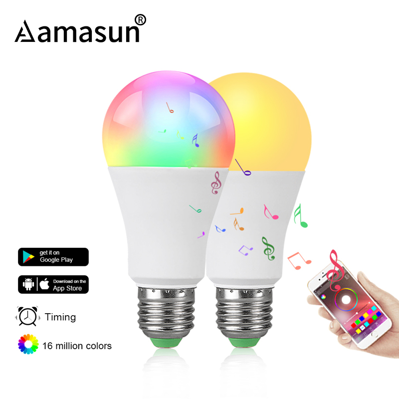 Dimmable E27 LED Bluetooth 4.0 Smart Bulb Magic Lamp RGB+W RGB+WW 15W AC85-265V Music Color Changeable Timing Home Lighting