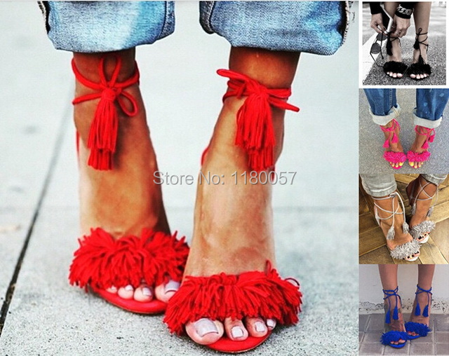 8e65a54ce42 Aquazzura Wild Thing Suede Fringe Tasseled Ankle-Tie Sandals Women s  wildthing addict pumps High Heels shoes 7 colors EU35-EU42