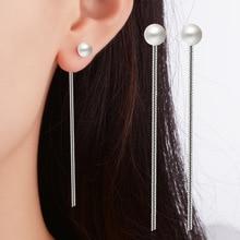Fashion Cute Ear Wire Earrings Female Models Long Drop Imitation Pearl Jewelry Dangle Earrings Brincos Free Shipping