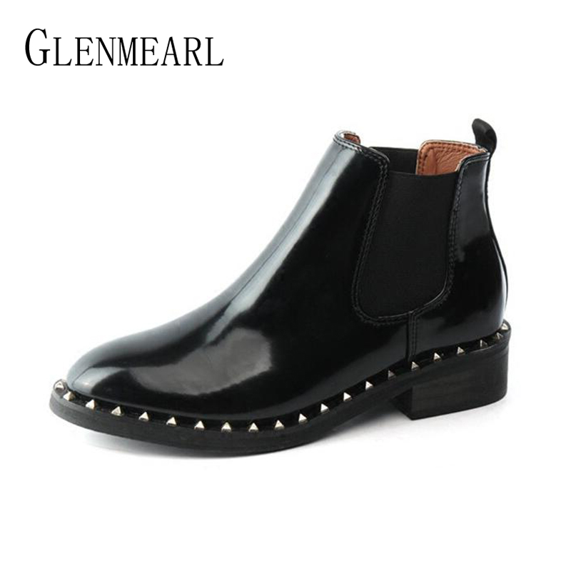 Brand Women Boots Autumn Ankle Shoes For Woman Platform Thick Heels Chelsea Boots Female Fashion Rivet Round Toe Ladies Shoe DE