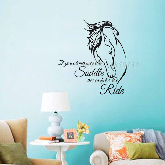 If You Climb Into The Saddle Horse Wall Stickers Home Decor Living Room  Vinyl Wall Decals