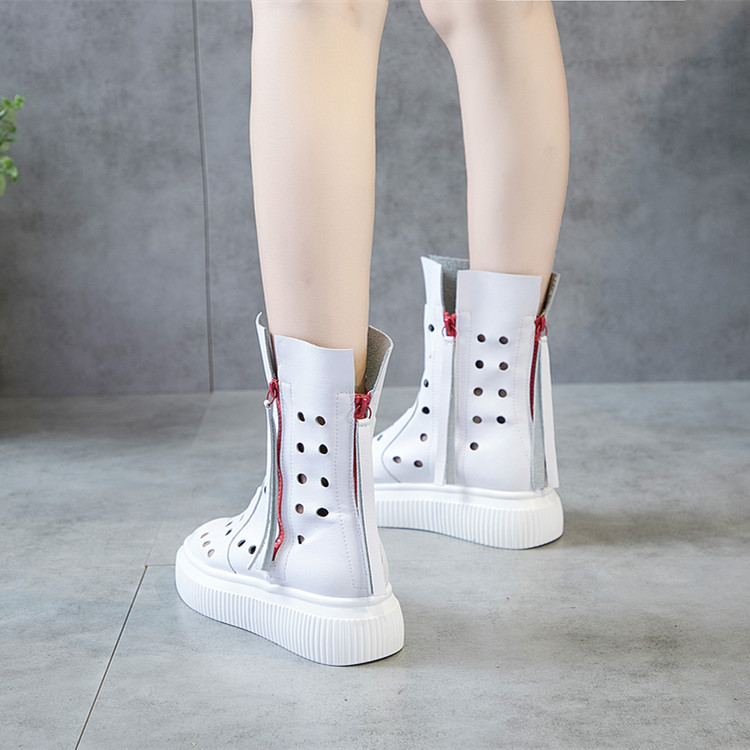 SWYIVY Genuine Leather Boots Autumn Woman 2018 Hallow Breathable Woman Casual Shoes Zip Tassle Student Ankle