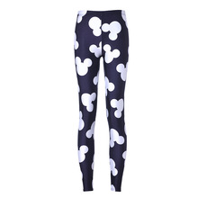 Women Minnie Mickey Mouse Yoga Gym Leggings High Waist Black White Hip Up Mujer Fitness Running Sport Femme Breathable Pant 2019