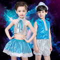 New Jazz Dancing Dress Kids Modern Dance Suit Kids Street Dancing Costume CheerLeader Dress Children's Day Gift B-3086