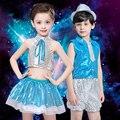 Nuevo Jazz Dancing Dress Kids moderno traje de la danza de la calle los niños baile de vestuario CheerLeader Dress día del niño del regalo B-3086
