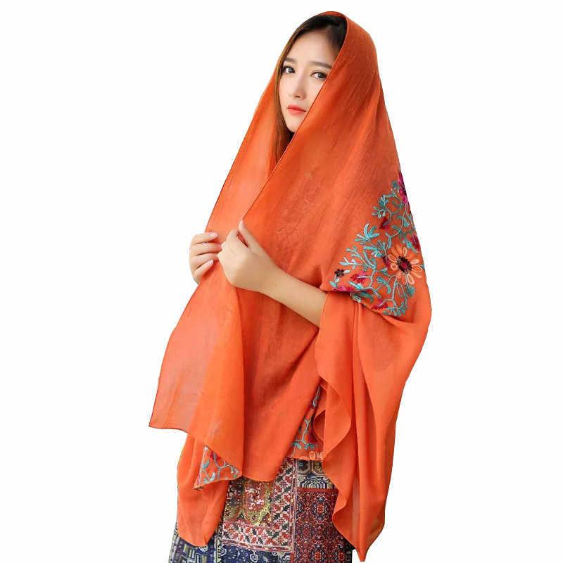 778134a7f3c ... ZFQHJJ Women Embroidery Scarf Cotton Linen Floral Muslim Hijab Scarf  Large Pashmina Shawl India Nepal Turban ...