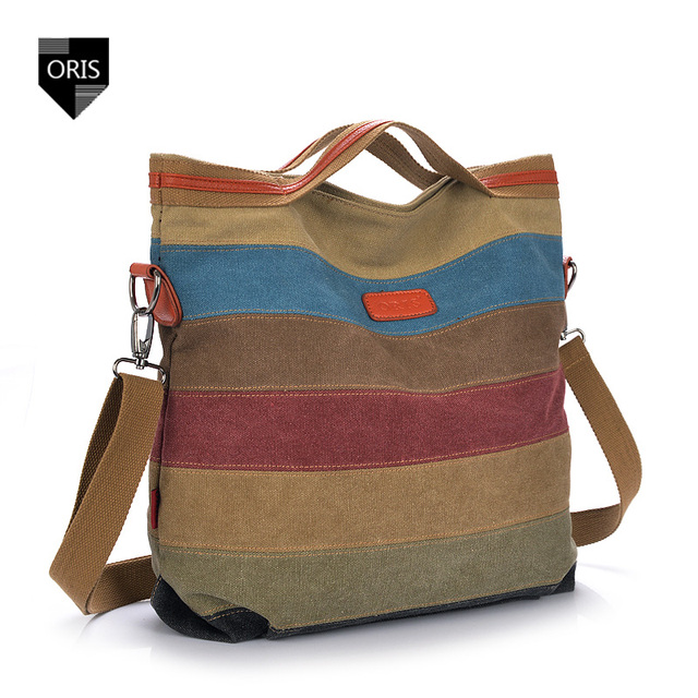 Diseñador de Paneles de Hombro bolsa de Lona de la Calidad Bolsa de Mensajero del Remiendo de Las Mujeres de Rayas de Colores Cubo Femenino Del Bolso de Asas Casual