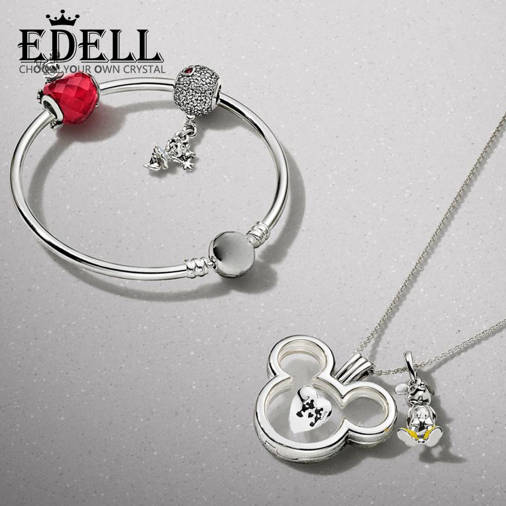 EDELL 100% 925 Sterling Silver New 1:1 Classic Cartoon Theme Bracelet Necklace Set Original Womens Jewelry Suitable GiftEDELL 100% 925 Sterling Silver New 1:1 Classic Cartoon Theme Bracelet Necklace Set Original Womens Jewelry Suitable Gift