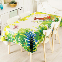 Green Forest Deer Butterfly Linen Thick Pound Tablecloth Cafe Restaurant Living Wedding Villa Grass Square Table