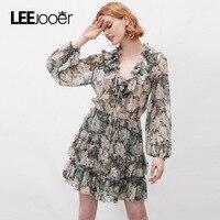 LEEJOOER Designs Ruffles Sexy Lace Up V Neck Chiffon Dress 2017 Autumn Winter Dress Women Fashion