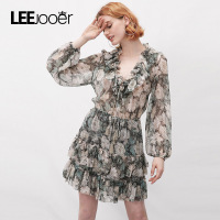 LEEJOOER Designs Ruffles Sexy Lace Up V Neck Chiffon Dress 2017 Autumn Winter Dress Women Fashion