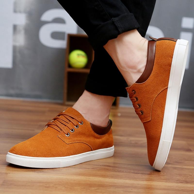 2018 Jauns modes zamšādas vīriešu dzīvoklis apavi audekls apavi - Vīriešu apavi - Foto 6