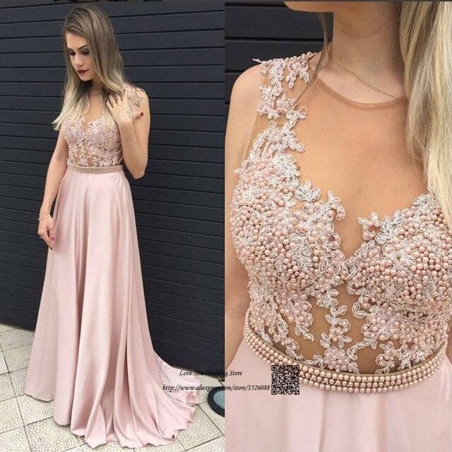 Vestido Longo de Festa Courte Elegant Long Evening Party Dress Pearls Lace  Pink Prom Dresses Cheap Sexy Women Pageant Gowns 2017 5b4fd8cc2db7