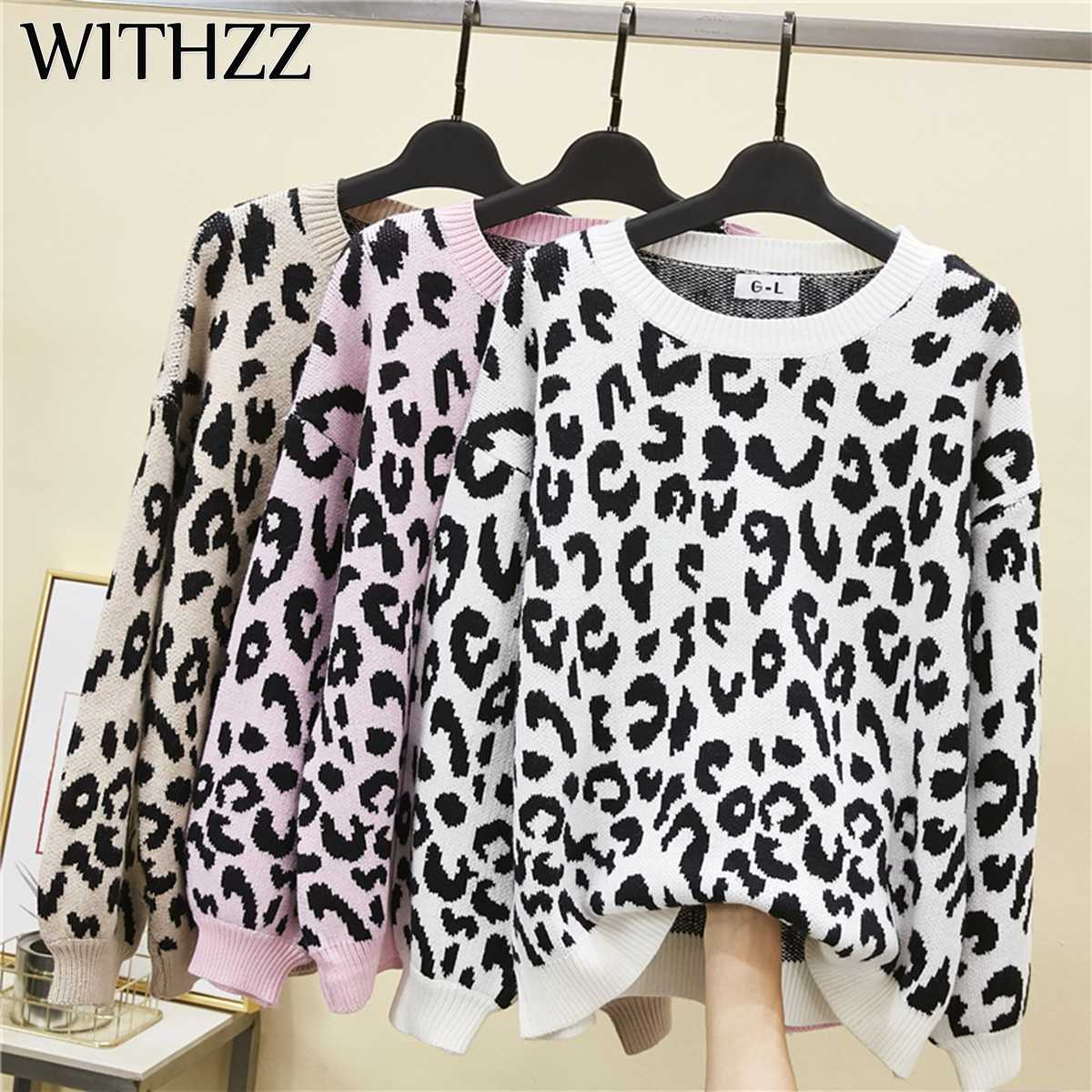 WITHZZ Spring Autumn New Arrival Women Leopard Print Knitting Sweater Fashion Pullovers Streetwear Casual Smock Loose Tops