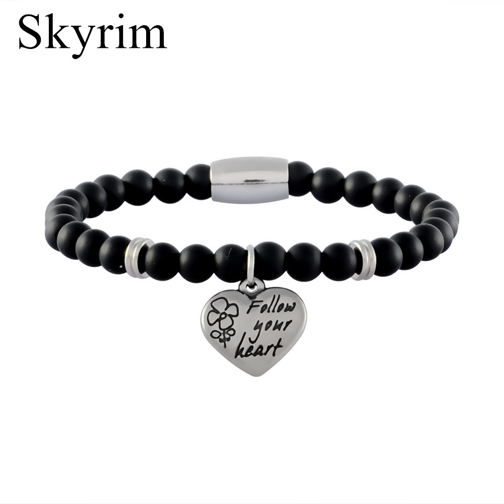 Skyrim Stainless Steel Heart <font><b>Confession</b></font> of Love Letters Agat Natural Black Beads Bangle Best Gift for Your Lover Couple Bracelet