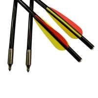 12 pièces 14 16 18 pouces tir à l'arc en fibre de verre arbalète boulons flèche plat Nock pour tir à l'arc tir en plein air