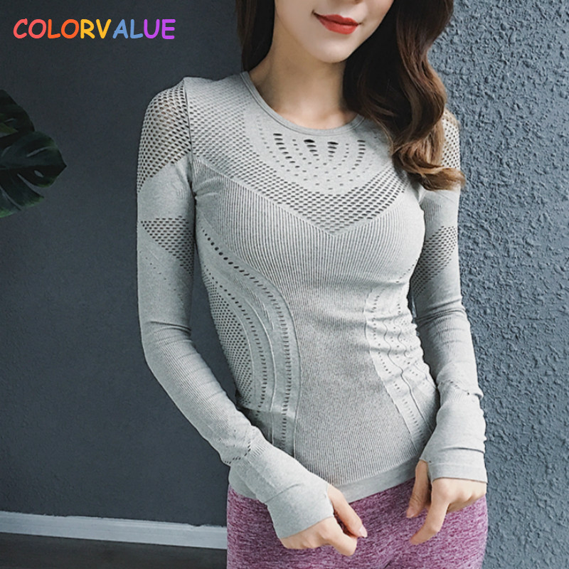 Colorvalue High Stretchy Seamless Sport Long Sleeve Shirts Women O-neck Hollow Out Fitness Workout Tops Solid Mesh Gym Jersey