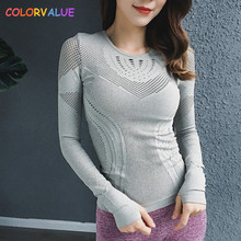 Colorvalue High Stretchy Seamless Sport Long Sleeve Shirts Women O-neck Hollow Out Fitness Workout Tops Solid Mesh Gym Jersey colorvalue hollow out sport shirts top women slim fit mesh yoga fitness top long sleeve high flexible solid gym workout jersey