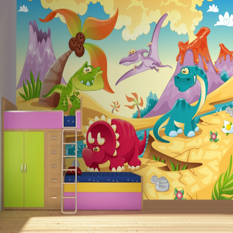 Dinosaur kids Wallpaper Mural 3D wallpaper for wall 3d Cartoon Mural wallpaper for child bedroom игрушка good dinosaur 62006