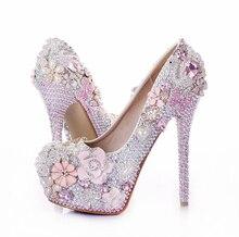 New sweet pink diamond wedding shoe luxury  round toe 10cm/12cm/14cm heel platform shoes women's party shoes