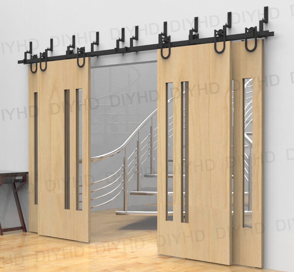 Horseshoe Bypass Sliding Barn Wood Closet Door Rustic Black Barn Door Track  Hardware For 4 Doors In Doors From Home Improvement On Aliexpress.com |  Alibaba ...