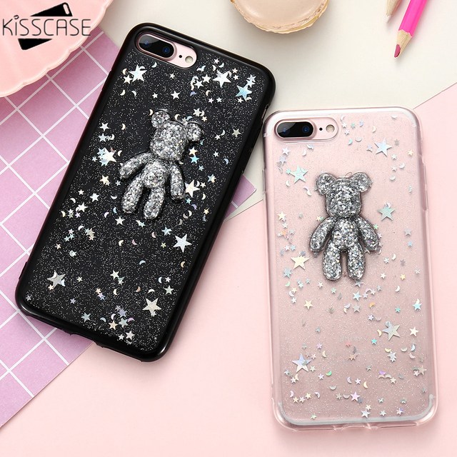 new style 79435 a8753 US $4.15 |KISSCASE 3D Bear Cute Case For iPhone 8 6 6s 7 7 Plus Case  Glitter Pretty Cute Stars Soft Silicon Back Cover For iPhone 6 7 Case-in ...