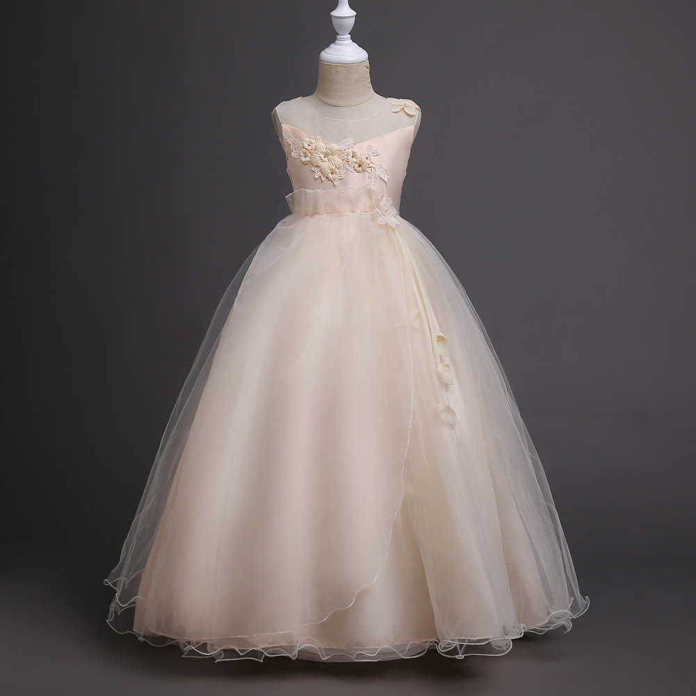 2017 Kids Girls Wedding Flower Girl Dress Princess Party Pageant Formal Dress Crossed Back Sleeveless Lace Tulle Dress 5-16Y gorgeous lace beading sequins sleeveless flower girl dress champagne lace up keyhole back kids tulle pageant ball gowns for prom
