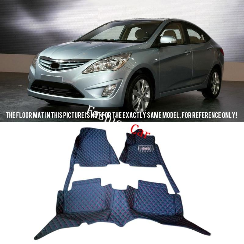 ФОТО Car floor mats For Hyundai i25 Accent Solaris Verna 2010-2015 Car Foot mats Custom carpets accessories rugs Carpet