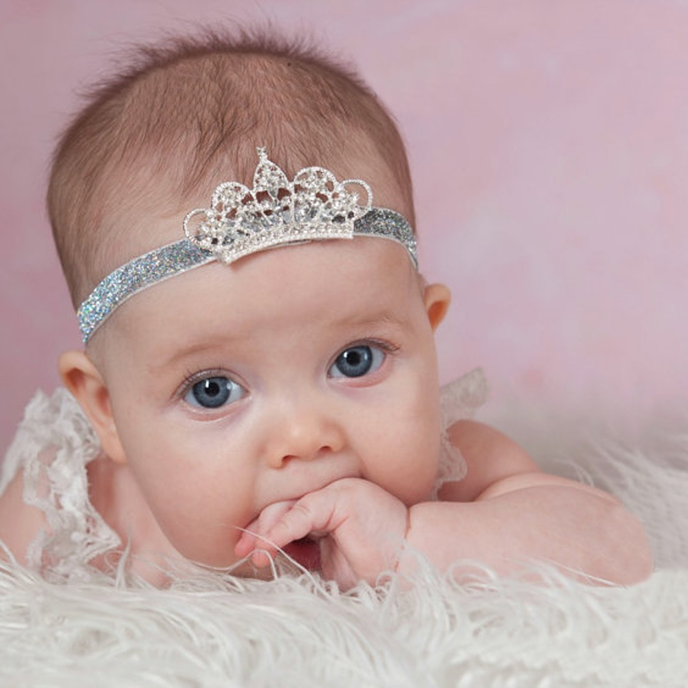 Newborn Baby Headwear Headband Hair Band Crystal Crown Infant Photography Prop Headband Stretchable Hairband For Baby Girls