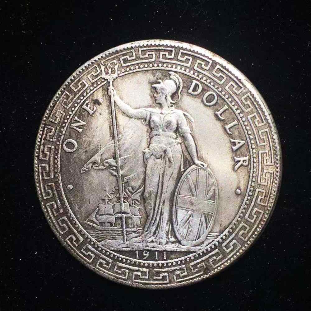 1911 britischen China Hong Kong Silber Trade Dollar Münze Medaille Gedenk Münzen