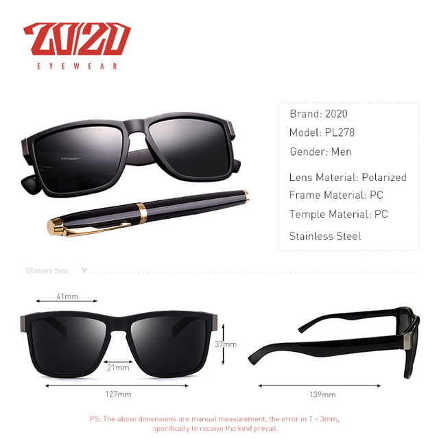 2020 Men's Classic Polarized Sunglasses, Square Black Plastic Frame Driving Eyewear