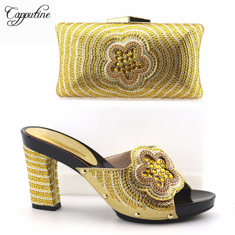 Capputine New Nigerian Gold Color Shoes And Matching Bag Set Summer Italian Shoes With Matching Bags For Party Free Shipping cd158 1 free shipping hot sale fashion design shoes and matching bag with glitter item in black