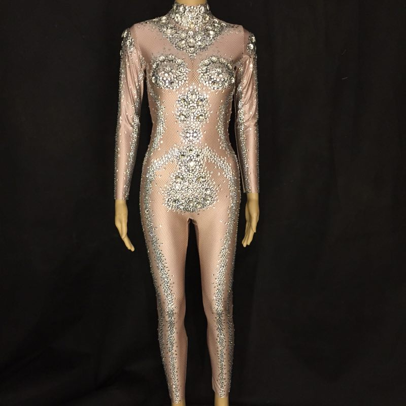 Women Sparkly Rhinestones Sexy Jumpsuit Nightclub DJ Performance Party Celebrate Bright Bodysuit Nude Stretch One-piece Outfit
