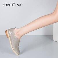 SOPHITINA сетчатая кожаная женская обувь на плоской подошве ручной работы; обувь без шнуровки золотистое круглое носком из натуральной кожи; об