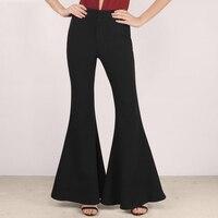 Women High Waist Flare Pants Wide Leg Black Office Pants Long 3XL New 2016 Spring Slim