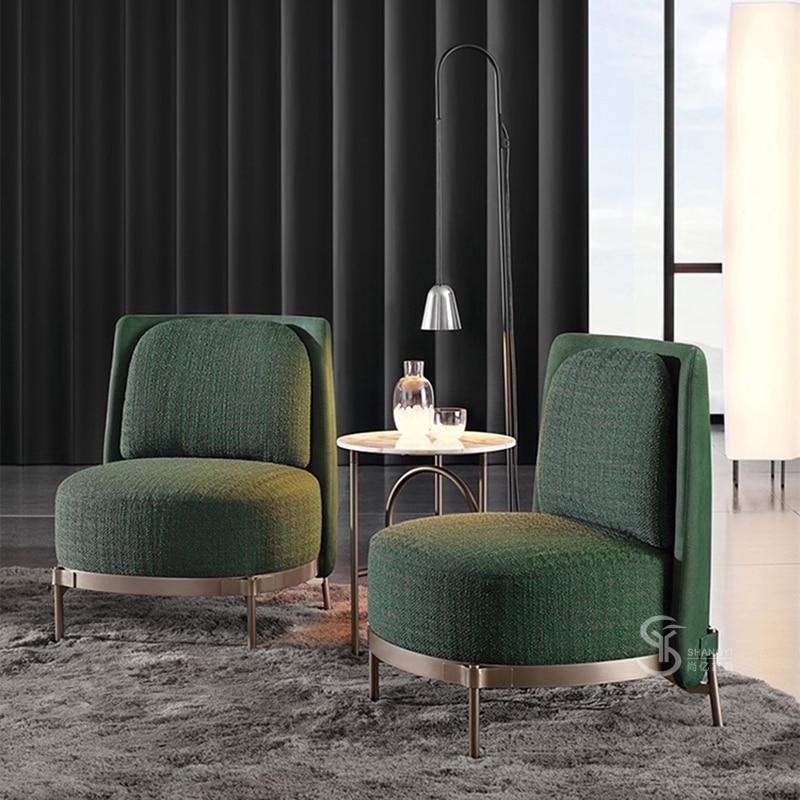 Single Sofa Nordic Modern Living Room Dark Green Armchair Cloth Art Reclining Chair Designer Leisure Chair Aliexpress