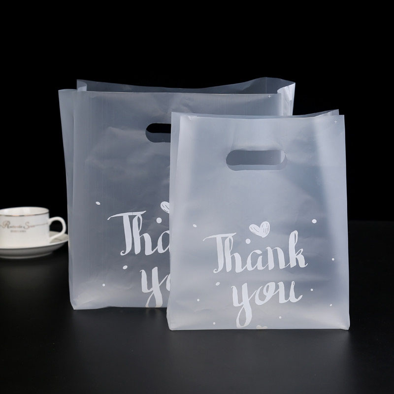 50pcs Plastic Packaging Bag Thank You Baking Cake Packaging Bag Protable Clear Shopping Bag Party Candy Gift Packing Pouches