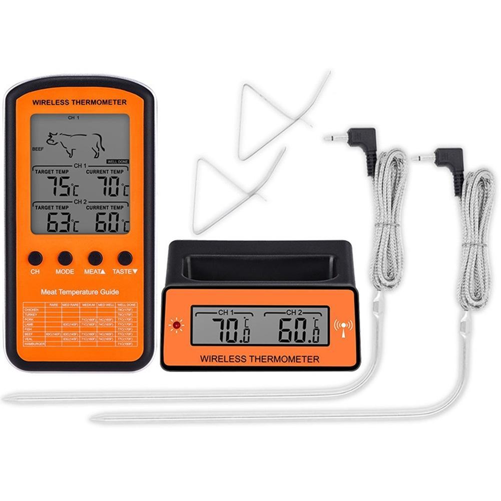 Term/ómetro digital inal/ámbrico para carne con sondas dobles negro