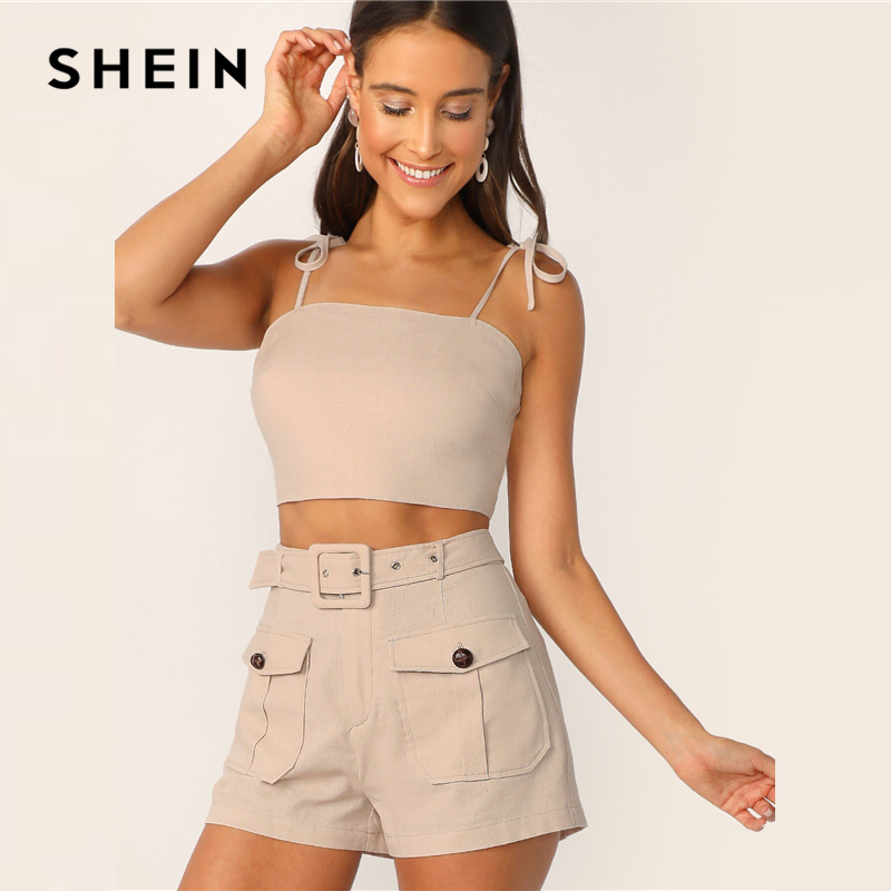 SHEIN Tie Strap Top And Adjustable Belted Shorts Set Sexy Khaki Solid Spaghetti Strap Summer Sleeveless Women 2 Piece Sets