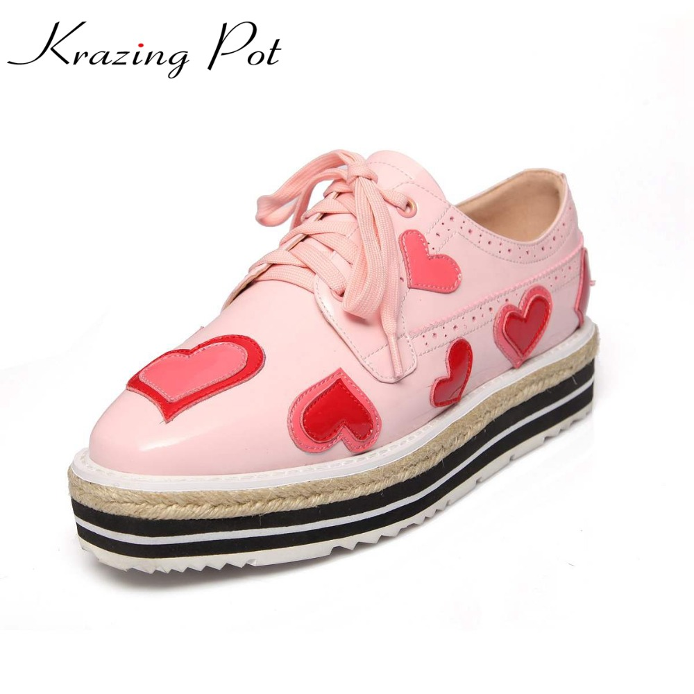 Krazing Pot shoes women love print fashion genuine leather round toe preppy style med heel lace up wedges pumps Oxford shoes L33 2017 shoes women med heels tassel slip on women pumps solid round toe high quality loafers preppy style lady casual shoes 17