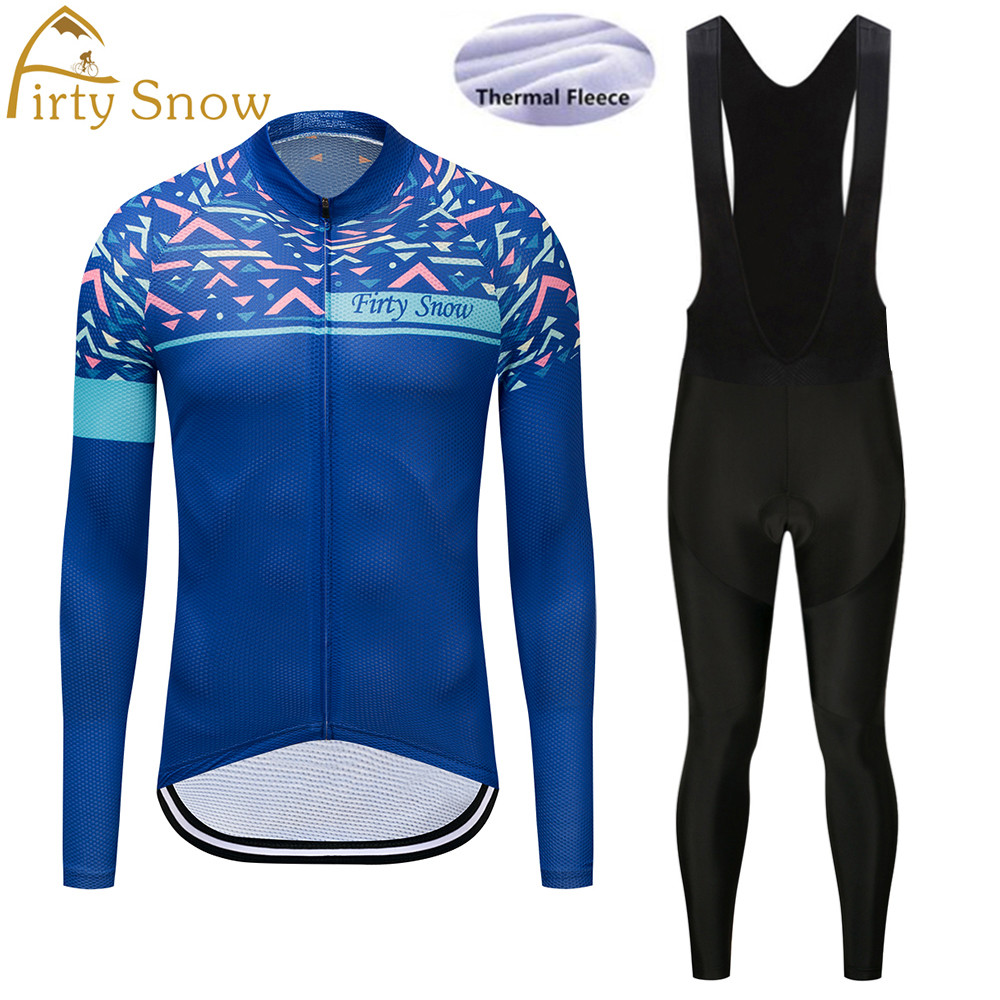 Firty Snow 2018 Winter Thermal Fleece Team Cycling Jersey Long Sleeve Jerseys Cycling Bib Pants Set Bike Bicycle Cycling Clothes