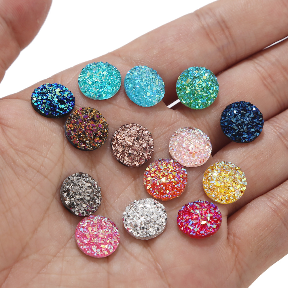 20pcs/lot 12mm Flatback Druzy Stone Cabochon Beads For Craft Embellishment Flat Back Resin Cabochon Beads Jewelry Making image