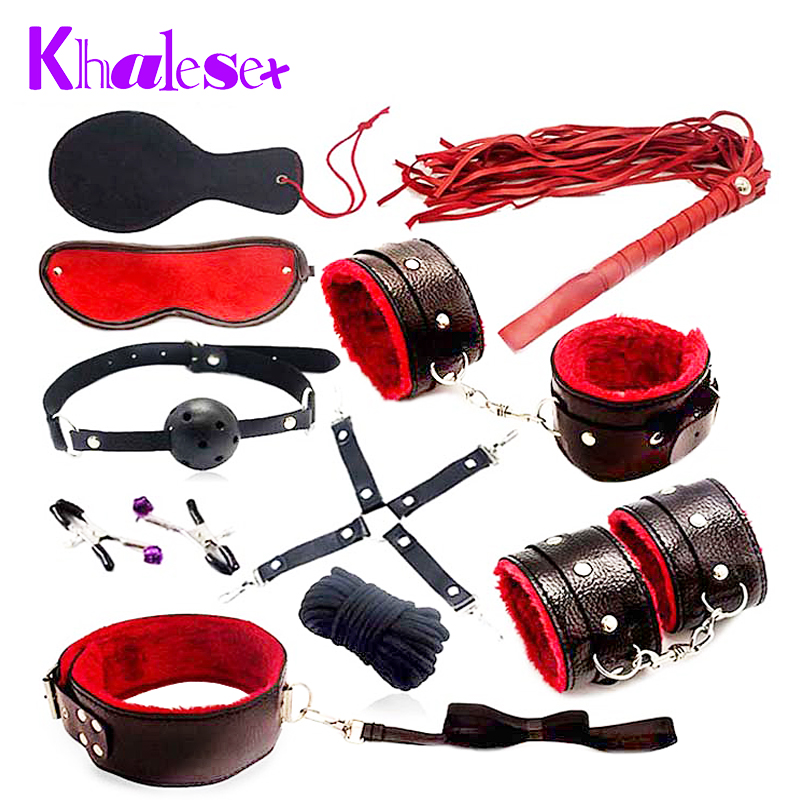 Khalesex 10 Pcs/set Sex Bondage Fetish Restraints Slave Woman Adult Sex Toys for Couples Handcuffs Whip Rope Eye Mask Sex Shop adult games 8 in 1 pink bondage kit set neck collar whip ball gag handcuffs rope eye mask fur sex fetish toy