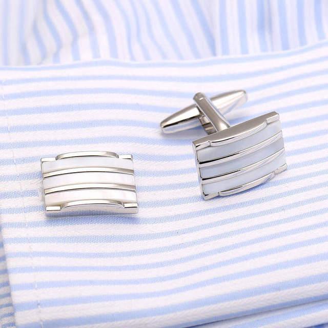 Necktie Tie Bar Cufflinks Clip High Mother Pearl Cuff Links Pin Jewelry 18