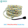 5m 5050 Led Strip Light 2 colors in 1 led DC12V Warm white / White CCT Waterproof 60led/m indoor outdoor decoration