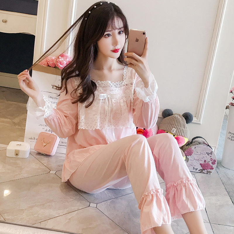 B Women Spring Solid Sleep Clothing Long Sleeved Spuart Collar Princess Female Sleepwear Cotton Nightwear Lady Full Length